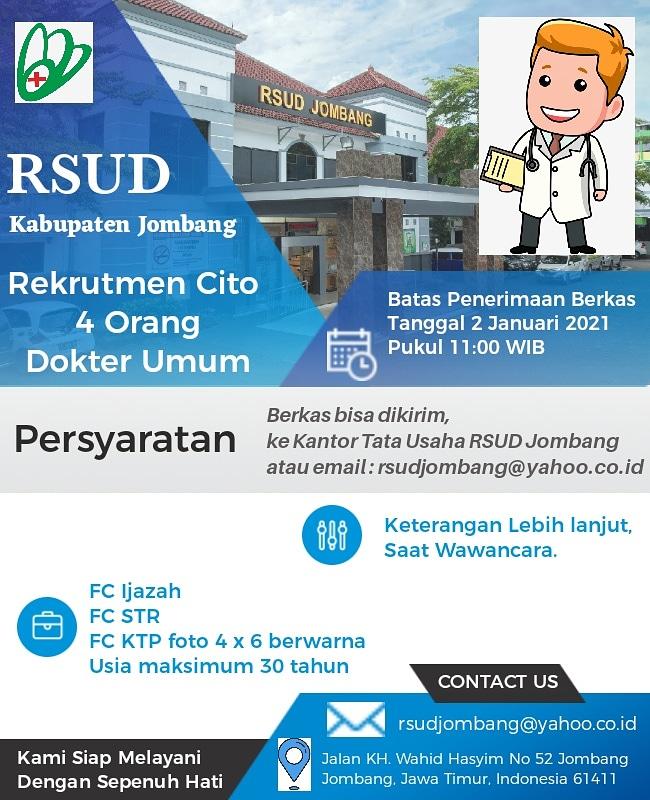 Rekrutmen Dokter Umum RSUD JOMBANG