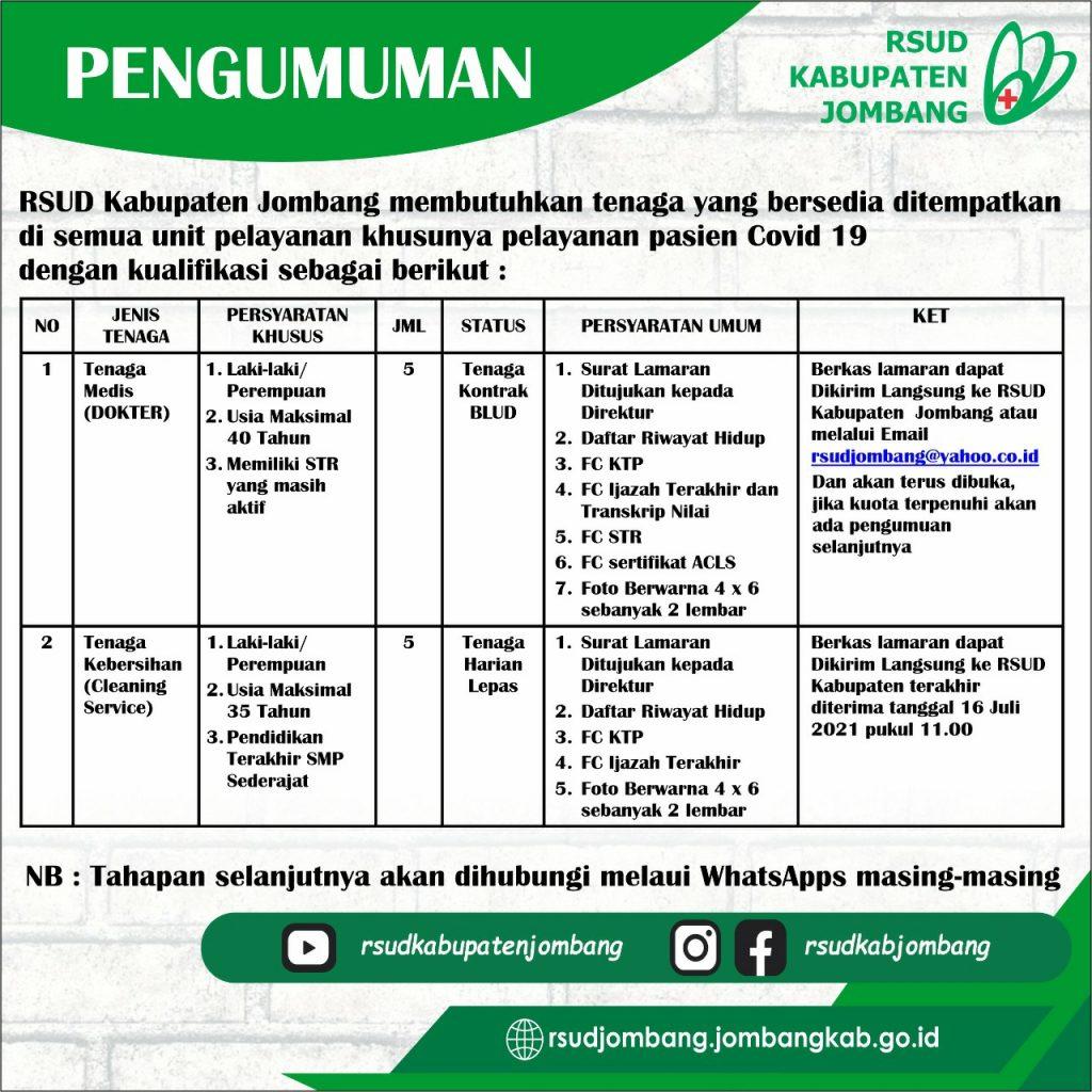 Open Rekrutmen RSUD Kab. Jombang